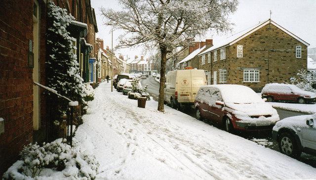 Piercy End (formerly Railway Street), Kirkbymoorside, in the snow.