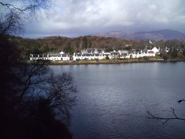 Plockton from the railway on the other side of the harbour.