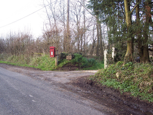 Postbox and entrance to Higher Sweetwell House