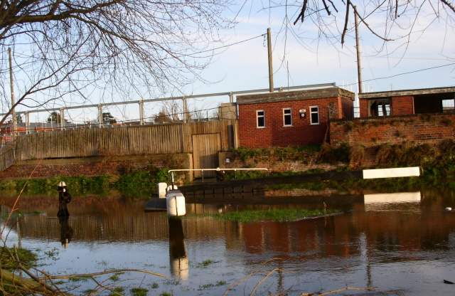 Diglis first lock flooded