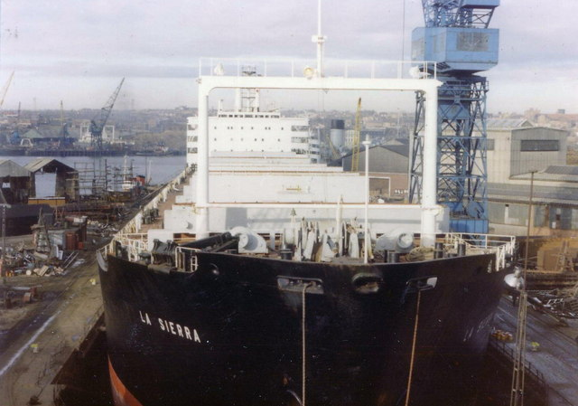Ship in dry dock, South Shields, 1977