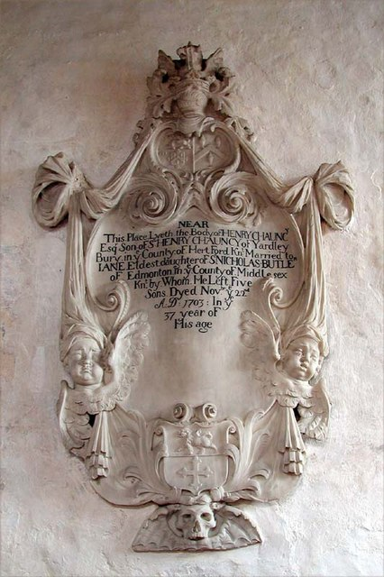 St Lawrence Church, Ardeley, Herts - Wall monument