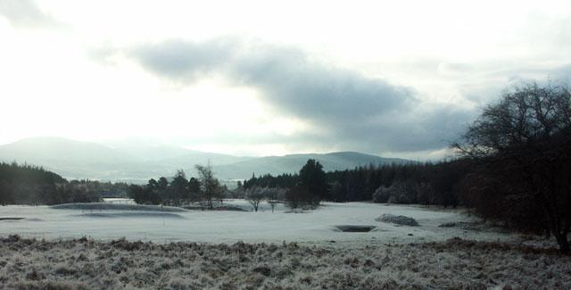 Snowbound golf course above Kingussie