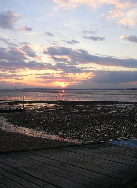 Allhallows beach at sunset