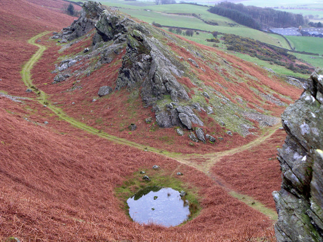 Littlefell Crags with tiny tarn.