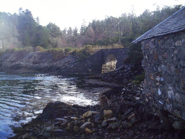 Railway arch & fishing lodge.