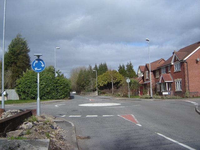 Mini-roundabout, Langstone, near Newport.