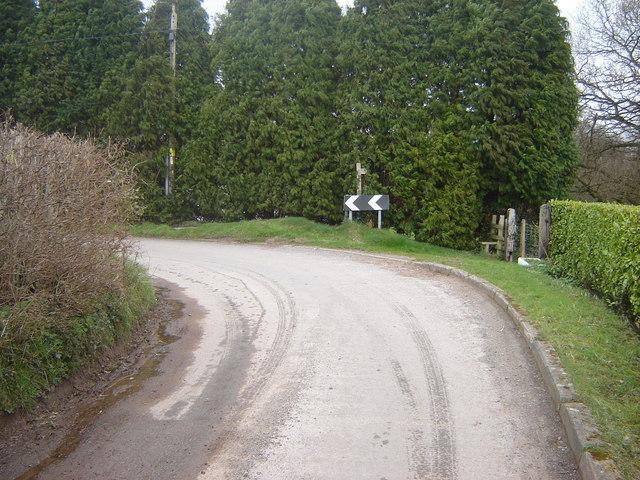 Bend in the road, Caerlicken Lane