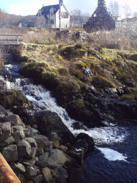 Waterfall and bridge, Barley Port
