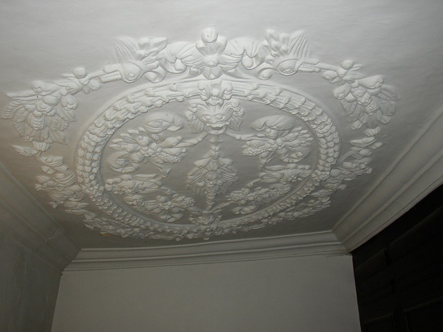 Plaster ceiling in Newhouse Hall, Sheepridge, Fartown, Huddersfield
