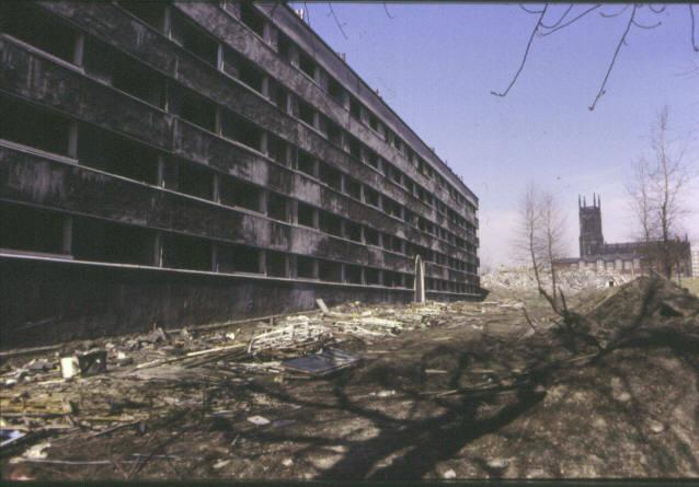 Quarry Hill Flats, Leeds during demolition
