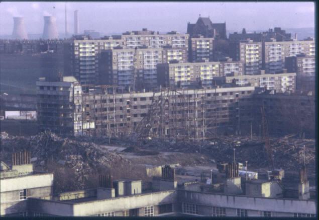 Quarry Hill Flats, Leeds during demolition.