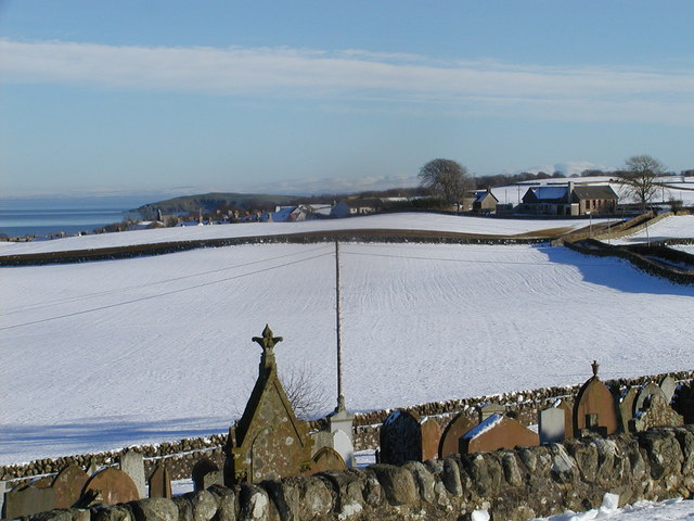 Auchencairn from the cemetery, in snow
