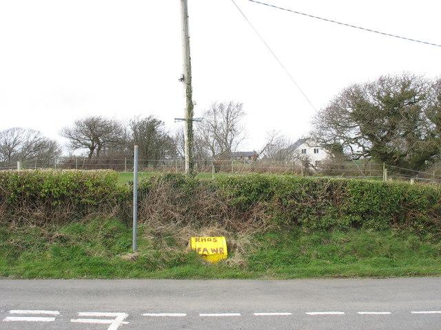 Road junction at Rhos Fawr