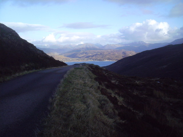 Road in Glen Arroch, looking East to Glenelg