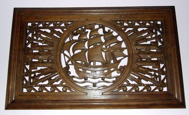 Wooden carving in Port Glasgow town hall