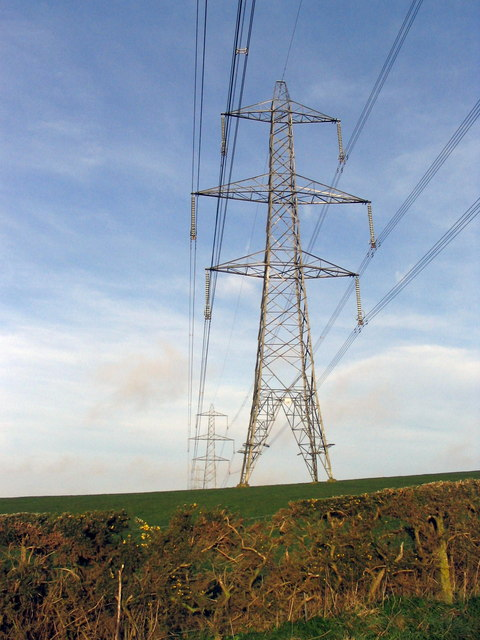 Power pylons near Kingston Russell, looking west.