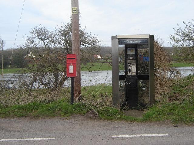 Telephone kiosk and Post box near Caldicot