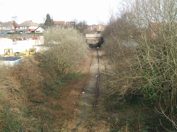 Overgrown railway at Dudley Port