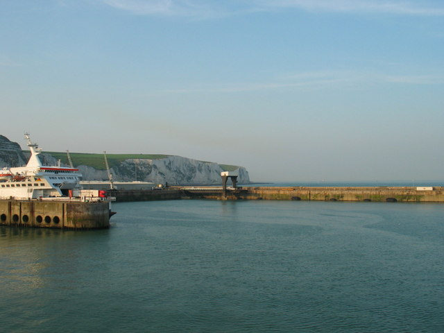 Looking back at the white cliffs on a boat leaving Dover East Docks