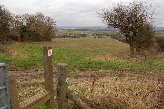 Stile on footpath above Low Pittington