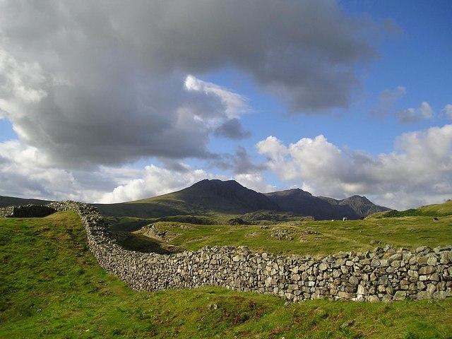 Hardknott Roman Fort, looking toward Scafell Pike