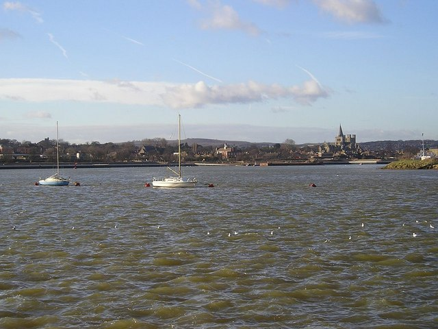 River Medway , view from Chatham Riverside toward Rochester
