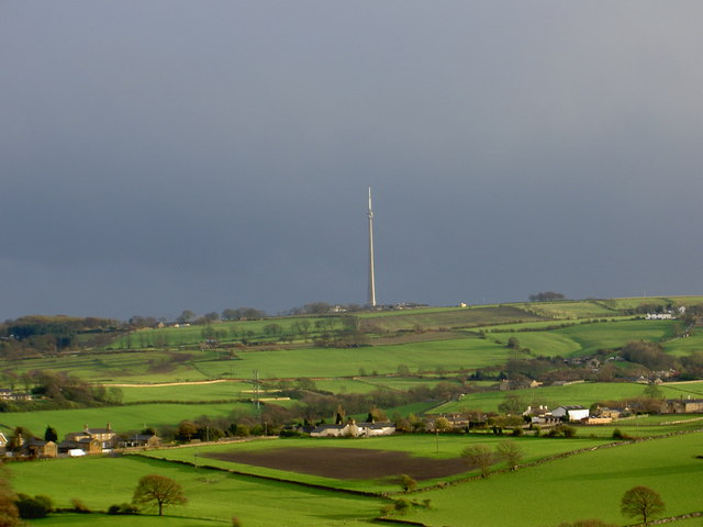 View of Briestfield with Emley Moor mast in background