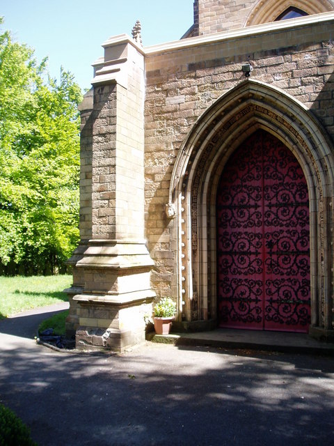 Church door and gardens