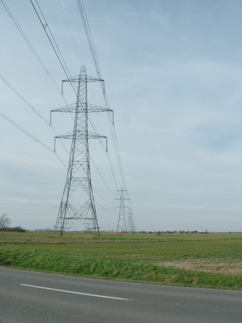 Power lines near Tydd St Mary