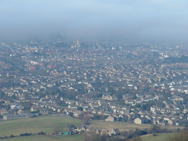 Cloudy Bishops Cleeve from Cleeve Hill