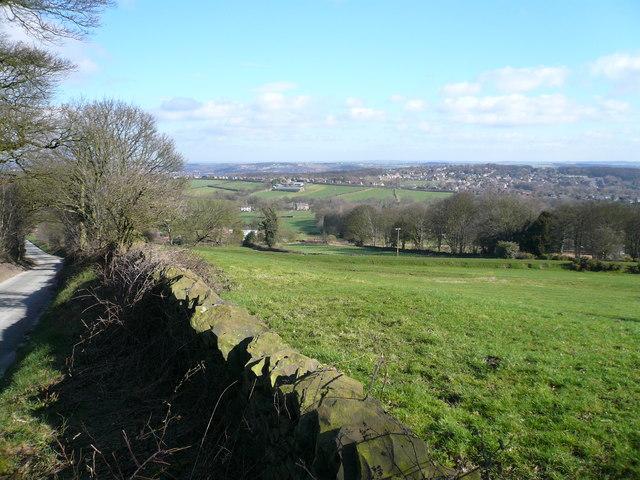 Bolehill Lane - View across fields to Wingerworth