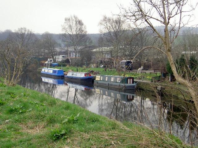 Moorings on the canal at Fir Cottage, Shepley Bridge, Ravensthorpe.