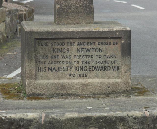 The inscription on Kings Newton cross
