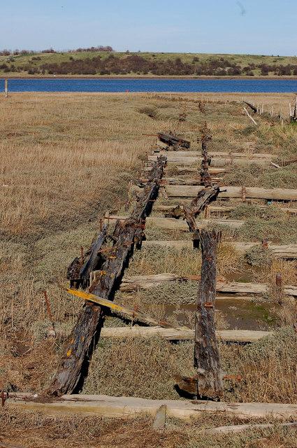 Old barge pontoon