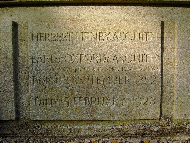 Asquith's tomb, All Saints church, Sutton Courtenay - inscription