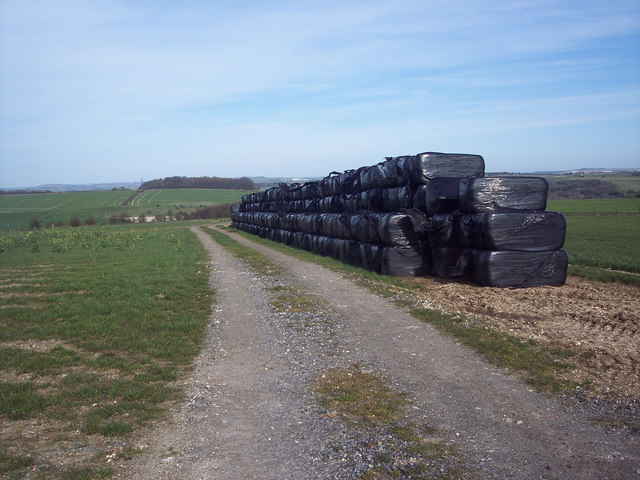 Stacked bales beside the A360