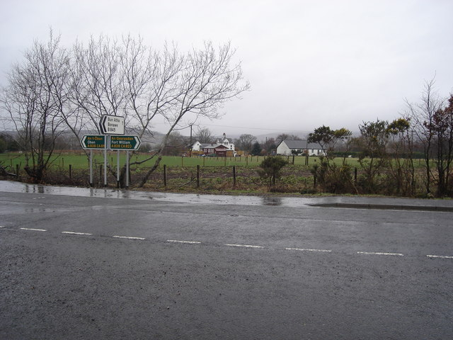 Road sign from across the A828 in Barcaldine