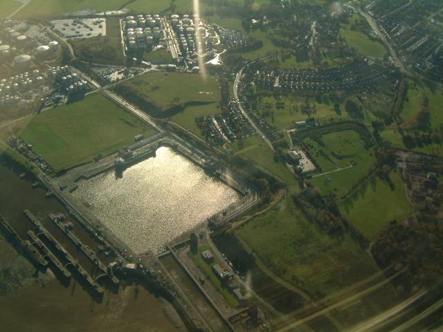 Queen Elizabeth II Dock from the air.