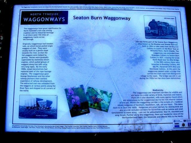 Seaton Burn Waggon Way Information Board