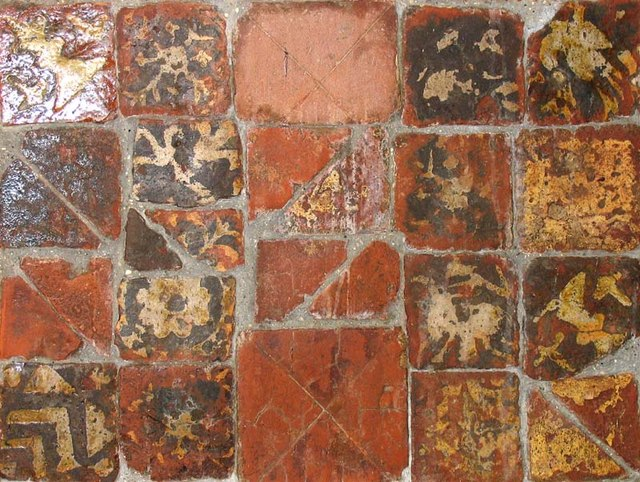 St Andrew, Much Hadham, Herts - Medieval tiles