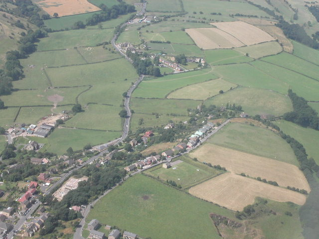 Foxroyd Lane and Whitley Road from the air, looking towards Whitley