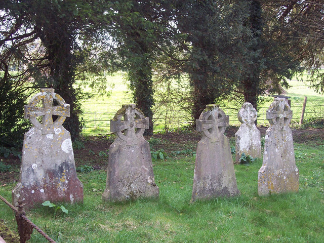Gravestones all in a row, All Saints Churchyard, Netheravon