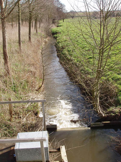 Stream and weir from Brantham Bridge on the A137