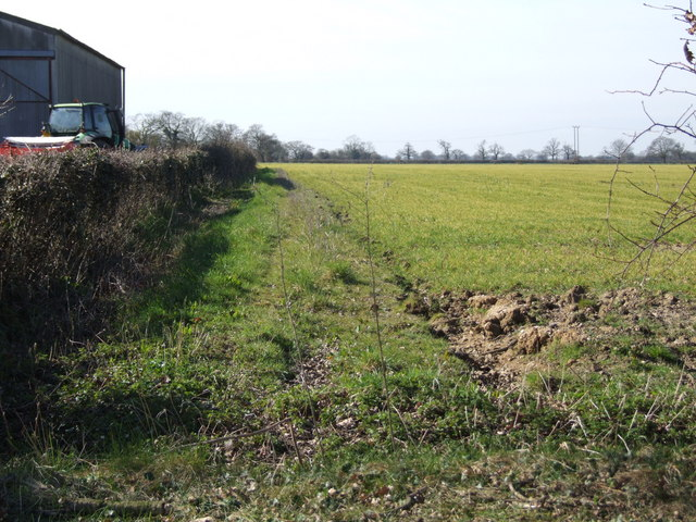 Footpath beside High Oaks Farm, Gissing