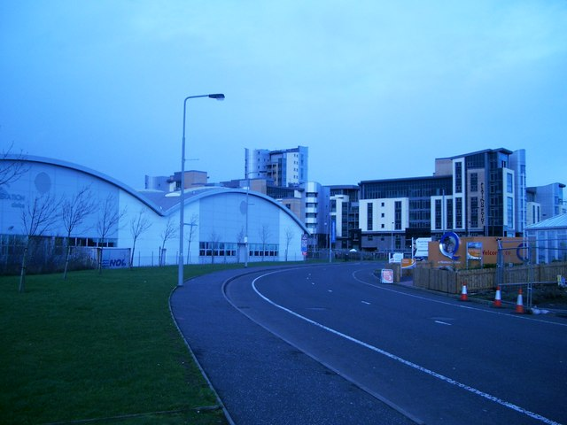 Newhaven Place with Next Generation sports centre on the left and new flats