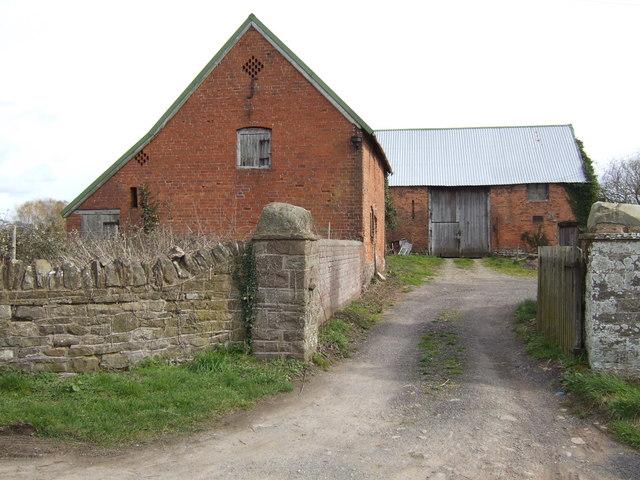 Red-brick barns at Upper Breinton