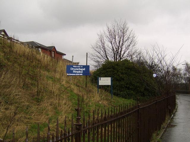 Sign for Drumchapel Hospital