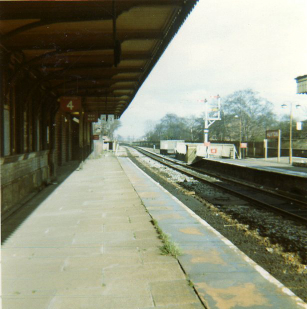 Huyton Station - redundant platform 4, about 1970