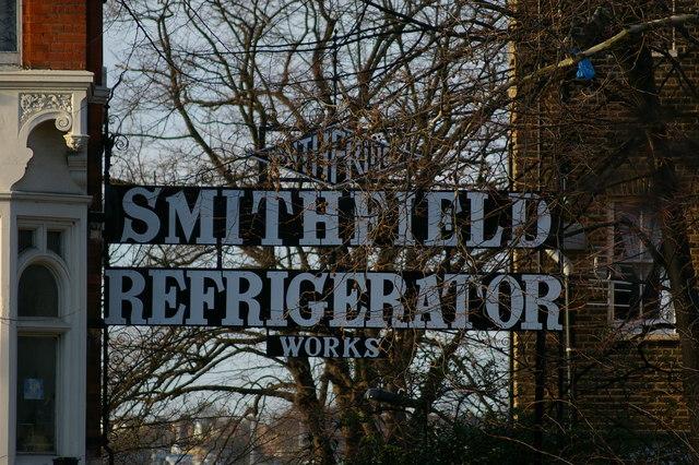 Smithfield Refrigerator Works sign, Cross Lane, Hornsey